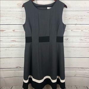 Calvin Klein   Gray Color Block Fit & Flare Dress
